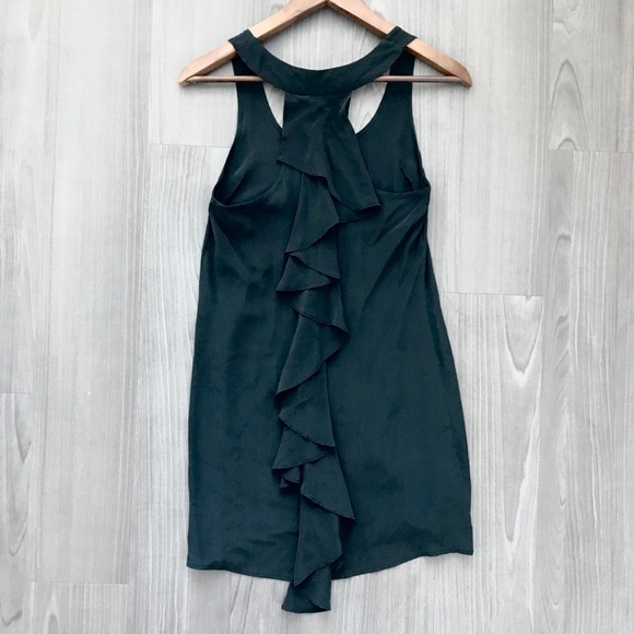 UO Silence + Noise Silk Back Ruffle Tunic Dress